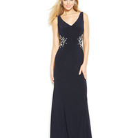 Joanna Chen Embellished Illusion-Panel V-Neck Gown
