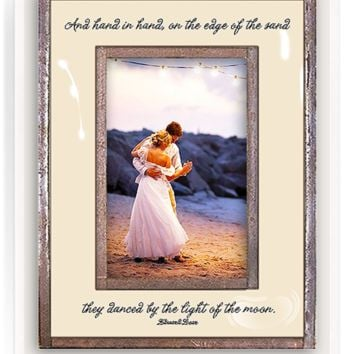 Hand In Hand, On The Edge Of The Sand Copper & Glass Photo Frame