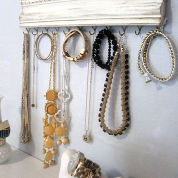 Jewelry Hanger / White Distressed Gold Crown Molding / Wall Hanging Accessory Organizer / Hooks