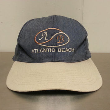 Vintage Atlantic Beach Snapback Tourist Hat Denim Look Made By JHats Hipster Style Dad Hat