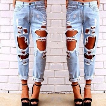 PEAPUG3 Women Fashion Vintage Style Torn Holes Denim Jeans Blue Pants Retro Pencil Long Frayed Ripped Pants = 1929799428
