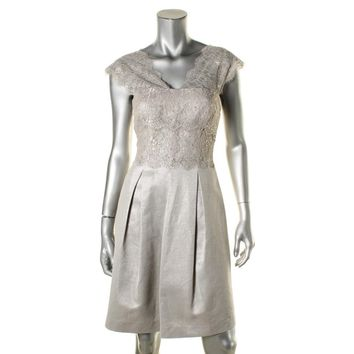 9ab34bb0dfc Kay Unger New York Womens Metallic Lace Overlay Party Dress