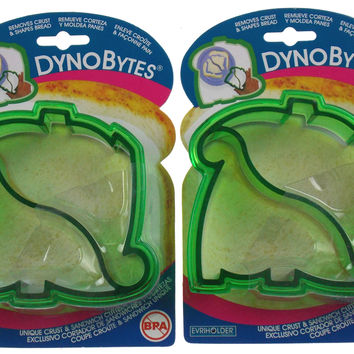 Dinosaur Shapes Bread Crust Sandwich Cutter DynoBytes Lot 2 Evriholder Parties