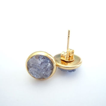 Tanzanite Raw Stone Stud Earrings - Natural Raw Gemstone Cluster - Lavender