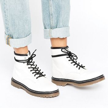 Pull&Bear Lace Up Work Boots at asos.com