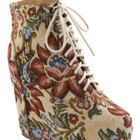 True to Platform Bootie in Tapestry | Mod Retro Vintage Boots | ModCloth.com