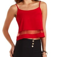 Organza Cut-Out Swing Tank Top by Charlotte Russe - Red