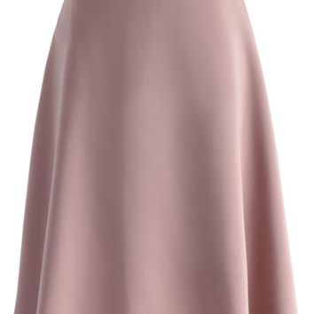 Savvy Basic Belted A-line Skirt in Pink