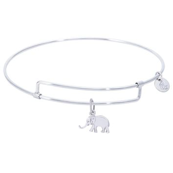 Sterling Silver Pure Bangle Bracelet With Elephant Charm