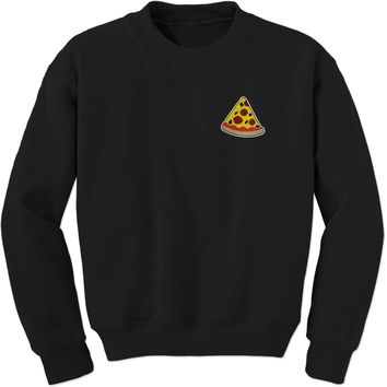 Embroidered Pizza Slice Patch (Pocket Print) Adult Crewneck Sweatshirt