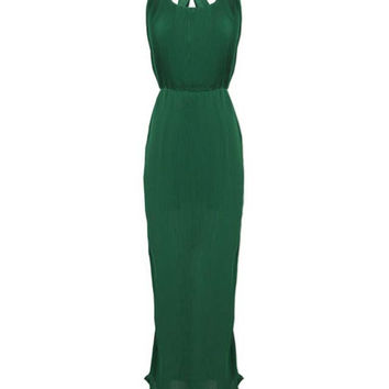 Sleeveless Crisscross Backless Bodycon Maxi Dress