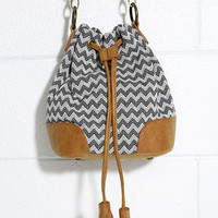 Way Outback Tan and Navy Blue Chevron Print Bucket Bag