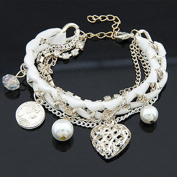 New Arrival Awesome Hot Sale Shiny Great Deal Gift Stylish Korean Hollow Out Pearls Chain Bangle Bracelet [6573079559]