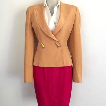 CLAUDE MONTANA!!! Vintage 1980s 'Claude Montana' peach orange fitted jacket with panelling and gold spike statement buttons / Made in Italy