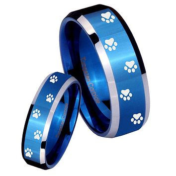 His Her Shiny Blue Bevel Paw Print Design Two Tone Tungsten Wedding Rings Set