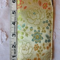 Gold Embroidered Asian Floral Semi Soft Reading Eyeglass Holder Case and Cloth