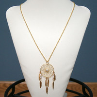 Dream Catcher Large Gold & Pearl Dreamcatcher Necklace with Feathers
