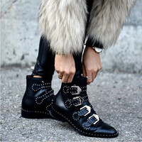 2016 Fashion Rhinestone Studded Ankle Buckle Women Ankle Boots Flats Motorcycle Boots Zapato Mujer Shoes Woman Black Leather
