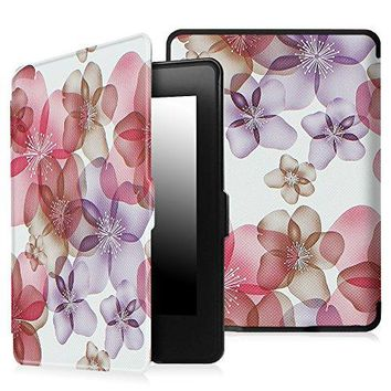 Fintie Case for Kindle Paperwhite - Premium Thinnest and Lightest PU Leather Cover Auto Sleep / Wake for All-New Amazon Kindle Paperwhite (Fits All 2012, 2013, 2015 and 2016 Versions), Floral Purple