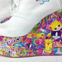 Kawaii Hand Made Rainbow Platform Wedge Ankle Boots // 8.5