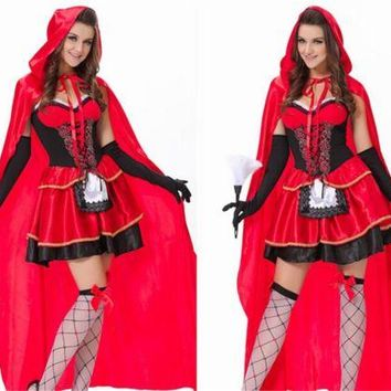 Women Sexy Little Red Riding Hood Adult Costume Fancy Dress Up Halloween Cosplay