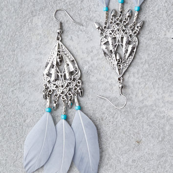 AEO Chandelier Feather Statemtent Earrings, Silver