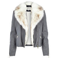 River Island Womens Grey leather-look faux fur biker jacket