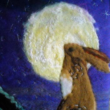 felt art moon gazing hare by SueForeyfibreart on Etsy
