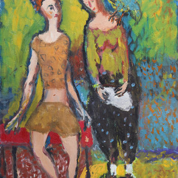 Modern abstract wall art Giclee canvas Print from painting Figurative Fine artwork Women LARGE size High quality Colorful Figures Female