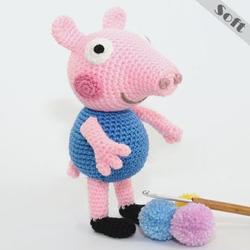 George Pig Soft Toy Peppa Pig's Brother Crochet, Amigurumi