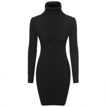 Women Casual Knit Turtle Neck Long Sleeve Bodycon Slim Sweater Dress