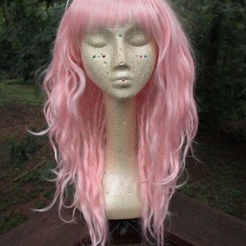 Pastel Pink Synthetic Dreadlock Wig * Dread Wig * Synthetic Dreads * Dread Extensions * Pink Wig * Nu Goth * Boho * Pastel Goth * Hippy *
