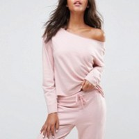 ASOS TALL LOUNGE Raw Edge Off Shoulder Sweat at asos.com