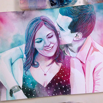 Special GIFT for HIM HUSBAND boyfriend man for birthday or wedding anniversary gift Custom watercolor couple portrait from photo couple gift