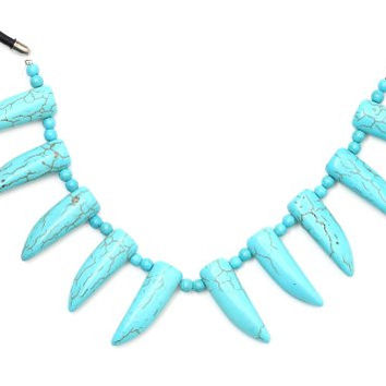 Turquoise Fangs Stations Necklace Blue Howlite Horns NK22 Leather Strand