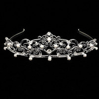 Silver Tiara with Metal, Rhinestones,and Pearls