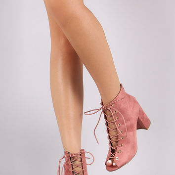 Shoe Republic LA Lace Up Chunky Heel Booties