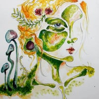 Forest Nymph, Giclee Print, Watercolor, forest fairy, mushrooms, moss, earth,