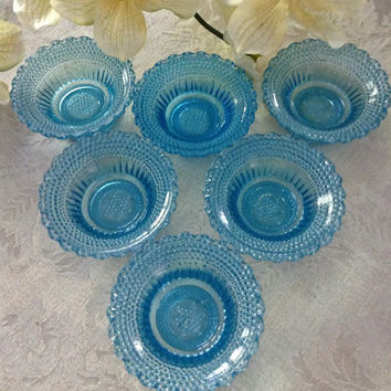 6 Open Master Salt Cellers, Aqua Blue Hob Nail - Bubble Glass,  Wedding Tea Lights