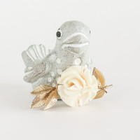 Celluloid White Rose Gold Filled Brooch Pin