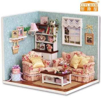 New Dollhouse Miniature DIY Kit with Cover Wood Toy doll house room Happy Time