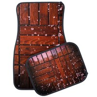 Cool Brown Wooden Ply texture With Wintry Snow Ice Car Floor Mat