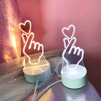 Korean Heart Fingers LED Light (3 Color Modes)