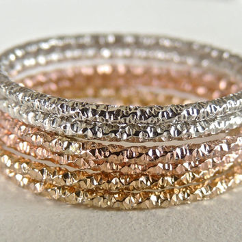 Sparkle Diamond-cut 14kt Gold Ring // Add-on to your stacking set // made to order