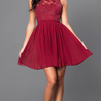Lace-Bodice Short Sleeveless Homecoming Party Dress