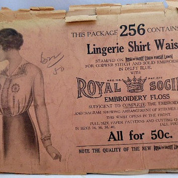 Early 1900s Titanic Era Vintage Ladies Lingerie Shirt Waist Blouse Sewing Pattern Royal Society Kit No Instructions Embroidery Howto Bust 36