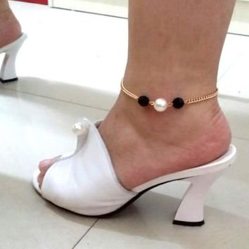 Girl Imitation Pearl Ankle Bracelet Chain Beach Foot Party Jewelry