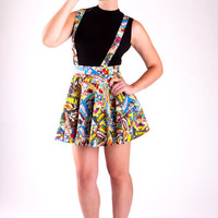 Suspenders Marvel Comic Book Circle Skirt