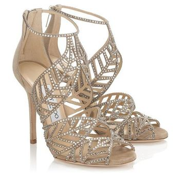 Jimmy Choo Women Fashion Leaf Heels Shoes Sandals