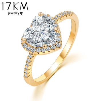 Romantic Heart Ring Gold Color Wedding Jewelry Clear Crystal Promise Ring For Women anillos anneaux CS12